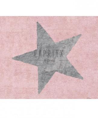 Alfombra lavable Estrella rosa-gris