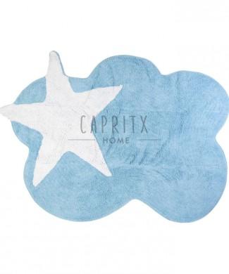 alfombra lavable mimosa azul-blanca