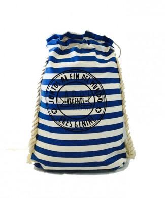 mochila rayas azul y blanca