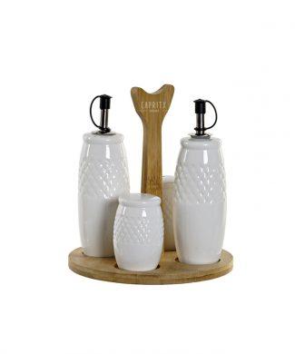 SET X 4 COCINA - VINAGRERA Y ACEITERA ceramica y bambu b - CAPRITX HOME