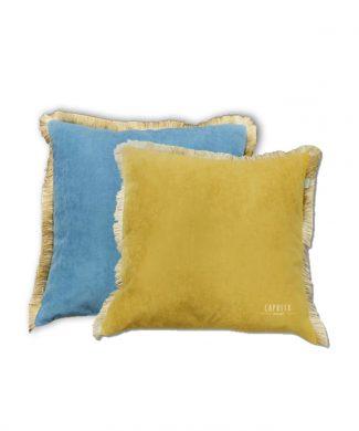 FUNDA COJIN reversible ibiza azul-mostaza - SANDECO - CAPRITX HOME